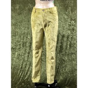 💞Free People chartreuse lime velvet pants